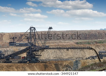 excavator working on open pit coal mine mining industry