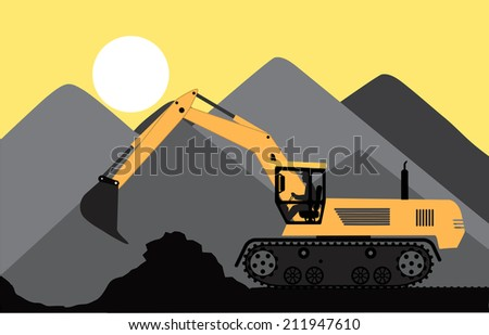 excavator works in a quarry - stock photo