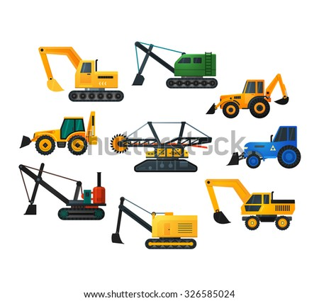 Excavators icons in flat style. Mining excavator and trucks excavator, old and modern. Rasterized version