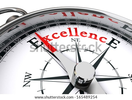 excellence conceptual compass on white background - stock photo
