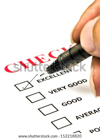Excellent experience checkbox in checklist survey - stock photo