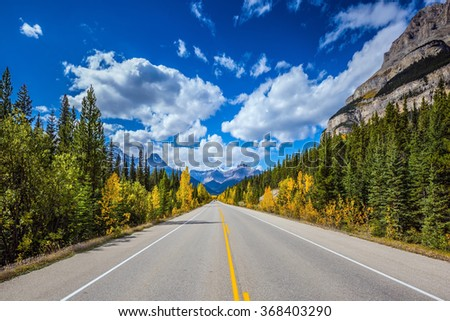 Excellent highway and surrounded by autumnal woods. Travel to the Bow River Canyon in September.  Canadian Rockies, Great Banff - stock photo