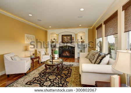 Excellent living room with decorative rug, white furniture and a fireplace.