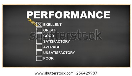 Excellent Performance: Great, Good, Satisfactory, Average, Unsatisfactory, Poor Blackboard isolated on white background