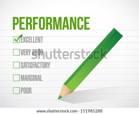 excellent performance review illustration design graphic over white background - stock photo