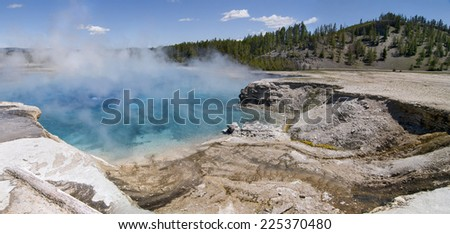 Excelsior Geyser Crater in Midway Geyser Basin, Yellowstone National Park, Wyoming - stock photo