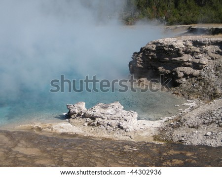 Excelsior Spring at Yellowstone - stock photo