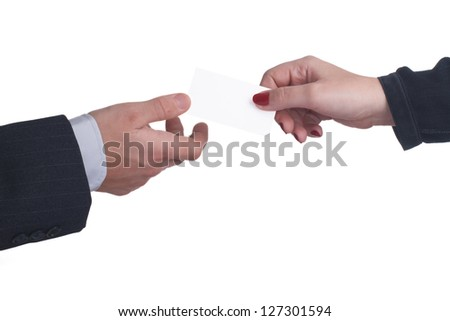 exchange business cards between a man and a woman on white background. close-up