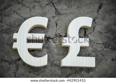 Exchange currency euro and pound on a dry land - stock photo