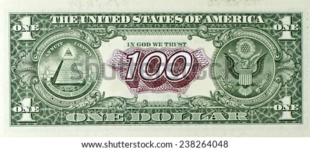 exchange rate of the dollar exceeded a hundred rubles. United notes one dollar and hundred rubles - stock photo