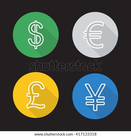 Exchange rates flat linear icons set. Dollar, euro, great britain pound and japanese yen currency symbols. Long shadow outline logo concepts. Raster line art illustrations - stock photo
