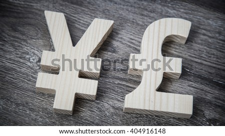 Exchange rating. Yen, Pound on wooden wall - stock photo