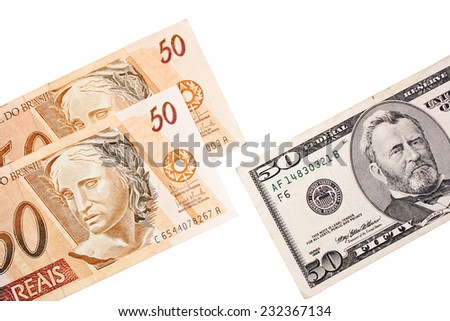 Exchanging currency when the rate was 2:1 - Brazilian Reais vs Dollar - stock photo