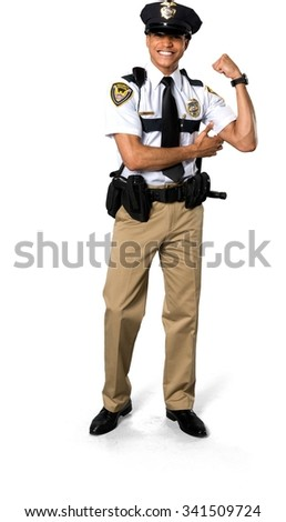 Excited African young man with short black hair in uniform doing muscle pose - Isolated