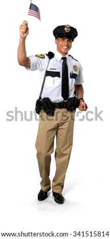 Excited African young man with short black hair in uniform holding mini American flag - Isolated