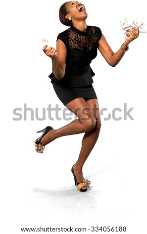 Excited African young woman with short dark brown hair in evening outfit holding money - Isolated - stock photo