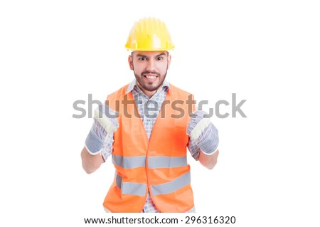 Excited and enthusiastic construction worker, builder or engineer - stock photo