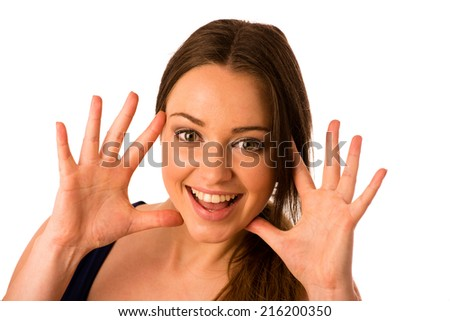 excited asian caucasian woman isolated over white - stock photo