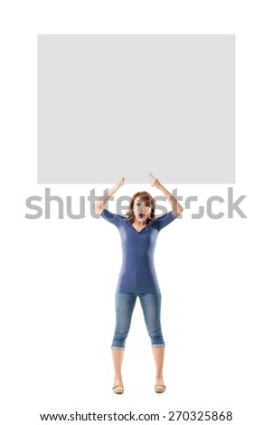 Excited Asian girl hold a blank board, full length portrait isolated.