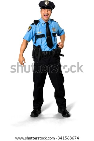 Excited Asian man with short black hair in uniform laughing - Isolated