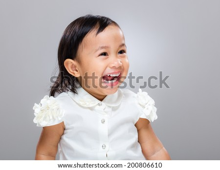 Excited baby girl - stock photo