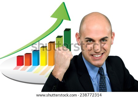 Excited bald businessman - stock photo