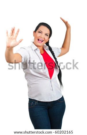Excited beautiful woman with arms raised won something isolated on white background