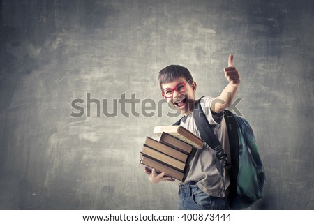 Excited boy going to school