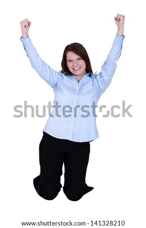 Excited brunette - stock photo