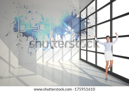 Excited brunette businesswoman jumping and cheering against splash showing technology interface - stock photo