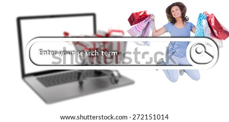 Excited brunette jumping while holding shopping bags against search engine - stock photo
