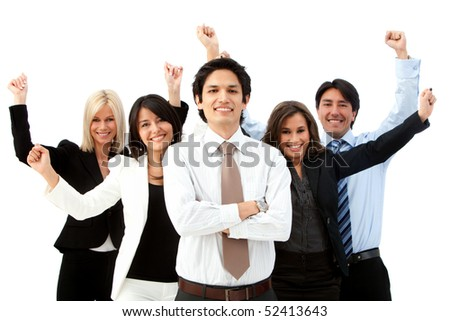 Excited business group with arms up isolated over a white background - stock photo