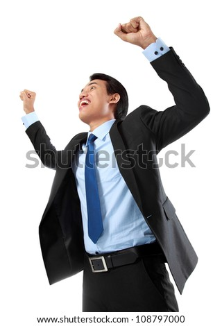 Excited business man celebrating success isolated on white background