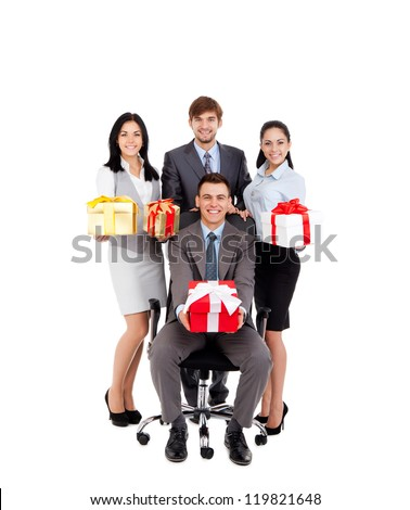 excited Business people group team hold gift box presents, man leader sitting in chair, young businesspeople smile, Isolated over white background concept of corporate holiday