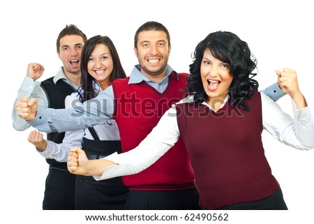Excited  business people group  won something and standing with arms up and shouting their happiness isolated on white background - stock photo