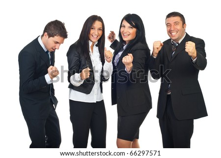 Excited business team with success in business raising hands and celebrating isolated on white background - stock photo
