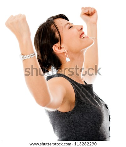 Excited business woman celebrating a triumph - isolated over a white background - stock photo