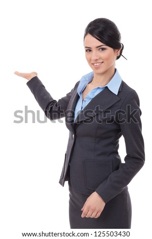 excited business  woman showing product isolated on white background - stock photo