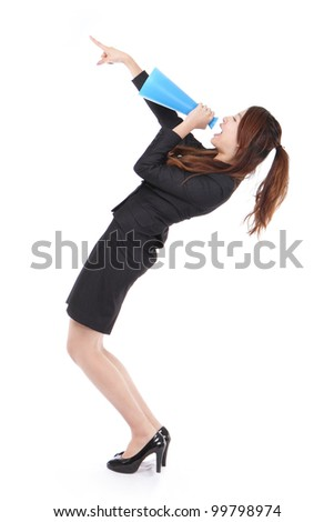 excited business woman yelling through megaphone and finger point up with full length isolated on white background, model is a asian woman - stock photo