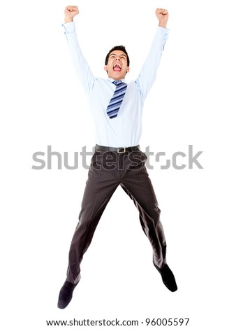 Excited businessman celebrating and jumping - isolated over a white background