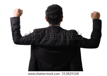 Excited businessman celebration success. Isolated on white