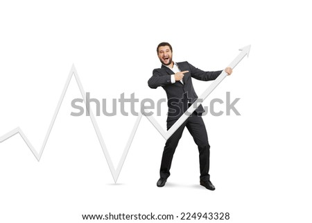 excited businessman pointing at white pointer. isolated on white background