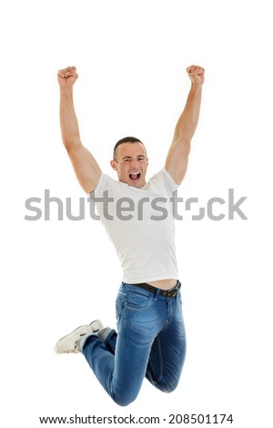 Excited Casual Happy Young Caucasian Man Clenching His Fists and jumping up in air, Isolated Over White Background, success finally - stock photo