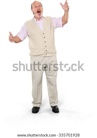 Excited Caucasian elderly man with short grey hair in casual outfit talking with hands - Isolated - stock photo