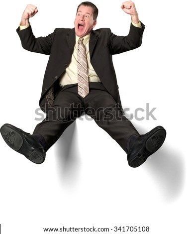 Excited Caucasian elderly man with short medium brown hair in business formal outfit with arms open - Isolated