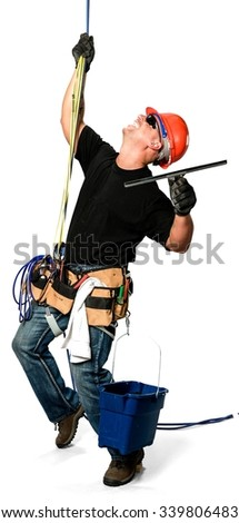 Excited Caucasian man in casual outfit using tool belt - Isolated