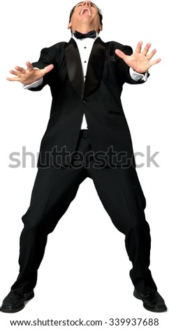 Excited Caucasian man with short black hair in evening outfit screaming - Isolated - stock photo