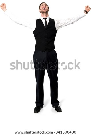 Excited Caucasian man with short dark brown hair in business casual outfit with arms open - Isolated - stock photo