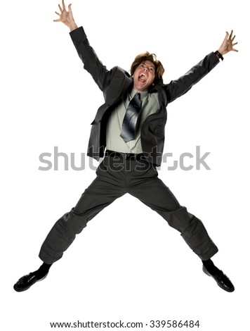 Excited Caucasian man with short dark brown hair in business formal outfit with arms open - Isolated - stock photo