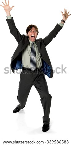 Excited Caucasian man with short dark brown hair in business formal outfit with arms open - Isolated